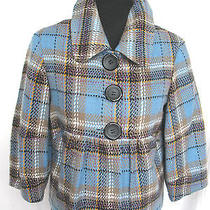 Kensie Pretty Plaid Multi-Color Jacket Pockets Big Buttons Trendy Style Sz S  Photo