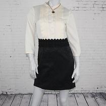 Kensie (S) Womens Beige Black Pleated Banded Collar  Above Knee Work Dress Photo