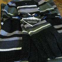 Kensie---Scarf--Hat--Gloves Set--Black /gray /lurex Striped--Acrylic-New W/tags  Photo