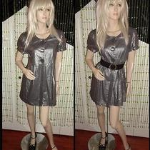 Kensie Silver Shimmer Front Button Closure Linen Baby Doll Top Mini Dress Photo