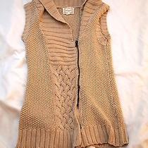 Kensie Small Cable Knit Tan Chunky Sweater Vest Asymmetrical  Photo