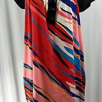 Kensie Small Multicolored Mod Print Short Sleeve Tunic Stretch Dress Big Buttons Photo