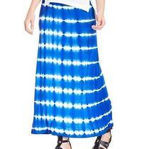 Kensie Tie-Dye Maxi Skirt Cobalt Blue & White Size Small Nwt Photo