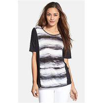 Kensie Water Stripes Top Eggshell Combo Size S Photo