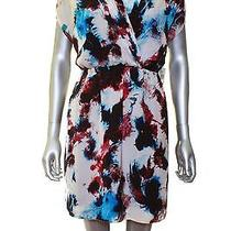 Kensie White Blue Red Floral Print Short Sleeve Blouson Above Knee Dress L Nwt Photo