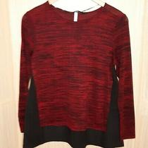 Kensie Women's Red Stretch Top With Black Silky Panels. Medium Photo