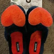 Kensie Women's Slippers Blue With Pink Heart Nwt 6/7 Super Cute & Cozy Photo
