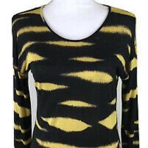 Kensie Womens T-Shirt Sz Small Black & Yellow Long Sleeve 100% Viscose Top Photo