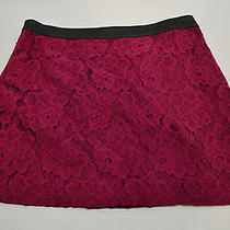 Kensie Womens 10 Leather N Lace Mini Skirt Magenta Nwt Photo
