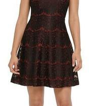 Kensie Womens a-Line Dress Red Black Size 4 v-Neck Foil Floral-Lace 98 383 Photo