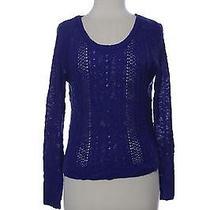 Kensie Womens L Pull Over Knit Sweater Braid Top Long Sleeve Cobalt Shirt Ladies Photo