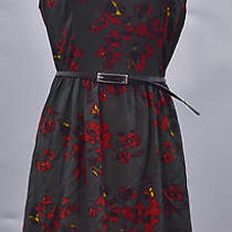 Kensie Womens M Short Sleeve Floral Print Dress Graphite Combo Nwt Photo