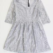 Kensie Womens S Lace Flare a-Line Dress Knee-Length Silver 3/4 Sleeve Shimmer Photo