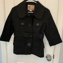 Kensie Womens Xs Pea Coat 3/4 Sleeve Black Jacket Big Button Double Breast Look Photo