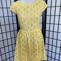 Kensie Yellow Nude Lined Crochet Dress Womens Size M Photo