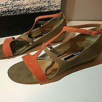 Kensie Zahra Womens Suede Wedge Sandals Shoes Coral Size 10 Photo