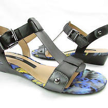 Kensie Zappa Womens T-Strap Sandal With Ankle Strap Stud Accents Black 7m Photo