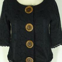 Kenzie Black Eyelet Short Jacket S Huge Buttons 3/4 Sleeves Photo