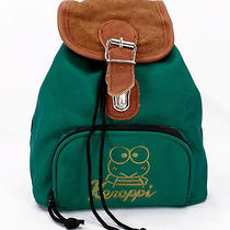 Keroppi Vintage Green Mini Backpack Shoulder Purse Travel Bag Suede Top Exc Photo
