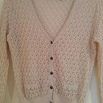 Kersh Blush Knit v-Neck 100% Cotton Cardigan W/front Pockets Size Medium Photo