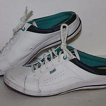 Kes Leather Mule Casual Sneakers 37786 White/blues Womens Us Size 8 Photo