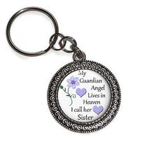 Key Chain Key Ring Sister My Guardian Angel in Heaven Handmade Antique Silver  Photo