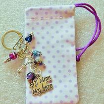 Key Chain or Purse Fob  My Mom My Hero Swarovski b'day Gift   Photo