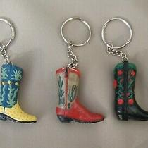 Key Chain Ring One Cowboy Boot Green Cactus Red Cactus Black/roses Western New Photo