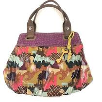 Key Per Fossil Large Shoulder Tote Bag Coated Canvas Purple Brown Pink  Photo