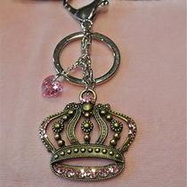 Keychain Purse Handbag Charm Crown Heart Pendant Necklace W Swarovski Crystals Photo