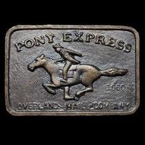 Kf19124 Vintage 1970s Pony Express Overland Mail Co Belt Buckle Photo