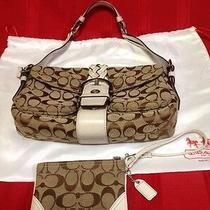 Khaki Brown White Coach Shoulder Bag & Wristlet Set Photo