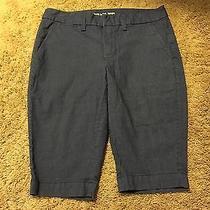 Khakis by Gap Blue Stripe  Slim City Bermuda Shorts or Crop Pants Size 2 Euc Fz7 Photo