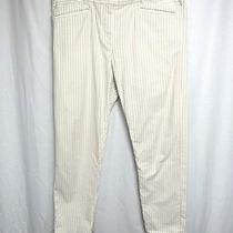 Khakis by Gap Pants Sz 12 Tan White Striped Skinny Mini Flat Front Pockets  Photo