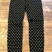 Khakis by Gap Stretch Super Skinny Black Anchor Design Flat Front Pants Womens 6 Photo