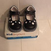 Kid Express Navy Polka Dot Velcro Mary Jane Shoes 7 Nib - Cute as Can Be Photo