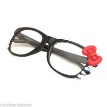 Kid Girl Hello Kitty Frame Chic Clear Lens Eyeglasses Age 1-5 Black/red Photo