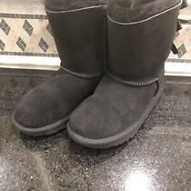 Kid's Ugg Black Bailey Bow Ii Boots- Size 2 - 1017394 Photo
