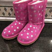 Kid's Ugg Classic Short Ii Stars Pink Boots- Size 3- 1019697 Photo