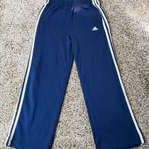 Kids Adidas Track Pants Size Medium 3 White Stripes Navy Blue Climalite Photo