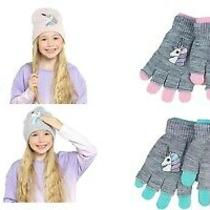 Kids Beanie Hat With Reversible Sequins Unicorn Design and Gloves Set Photo