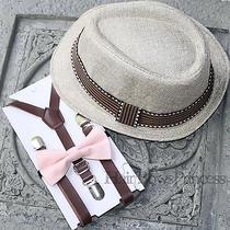 Kids Boy's Tan Fedora Hatpu Leather Suspenders Blush Pink Bow Tie 2t3t4t5t Photo