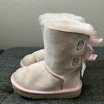 Kids Girls Size 8 Pink Ugg Bow Suede Sheepskin Boots Photo