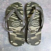 Kids Havaianas  Multi Green Beige Camo Camouflage Flip Flops Sandal Us 4 5 Photo