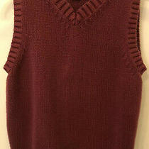 Kids Lands End Burgundy 100% Cotton Sweater Vest Sz M (5-6) School Euc Photo