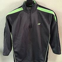 Kids New Balance Zip Sweater Black & Green - M - Running Sports Age 10/12 Soccer Photo