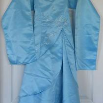 Kids's Love Aqua Long Dress With Sequins and Wrap Sz 6 Photo