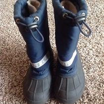 Kids Sorel Insulated Snow Boots Snow Chariot Removable Liner Size 11 Navy Blue Photo