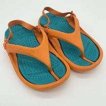 Kids Toddlers Size 6/7 Crocs Orange Blue Ankle Straps Thong Sandals Photo