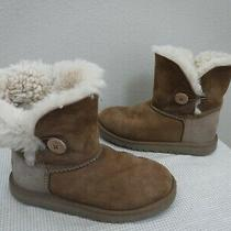 Kids Ugg Bailey Button 3 33 Chestnut Leather Shearling Fur Mid Winter Snow Boots Photo